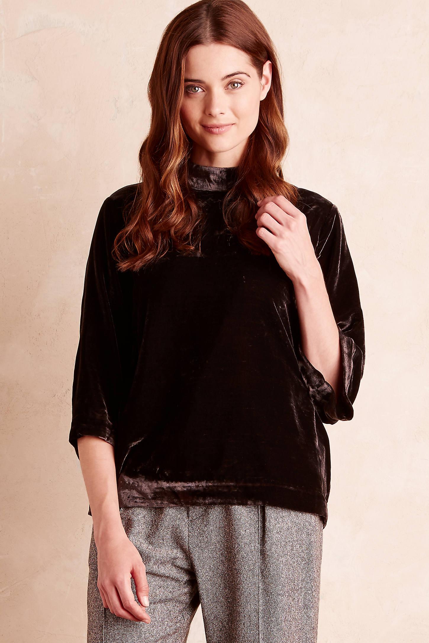 Alisha Velvet Blouse, Grey