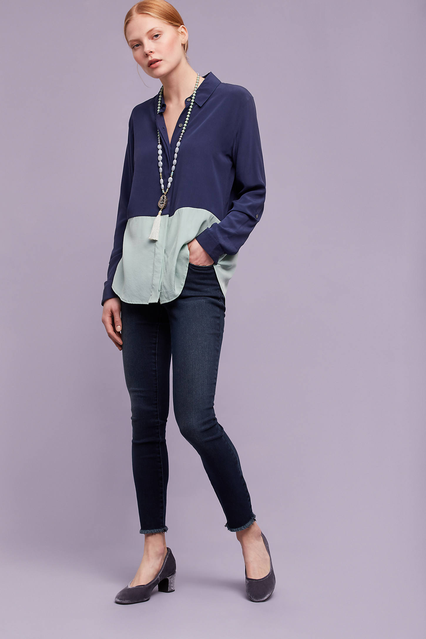 Skye Silk Colour Block Shirt, Blue
