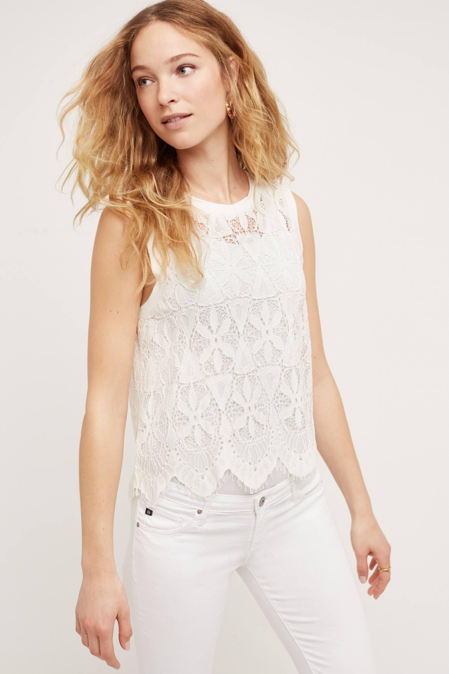 Bria Scalloped Lace Tank Top, White