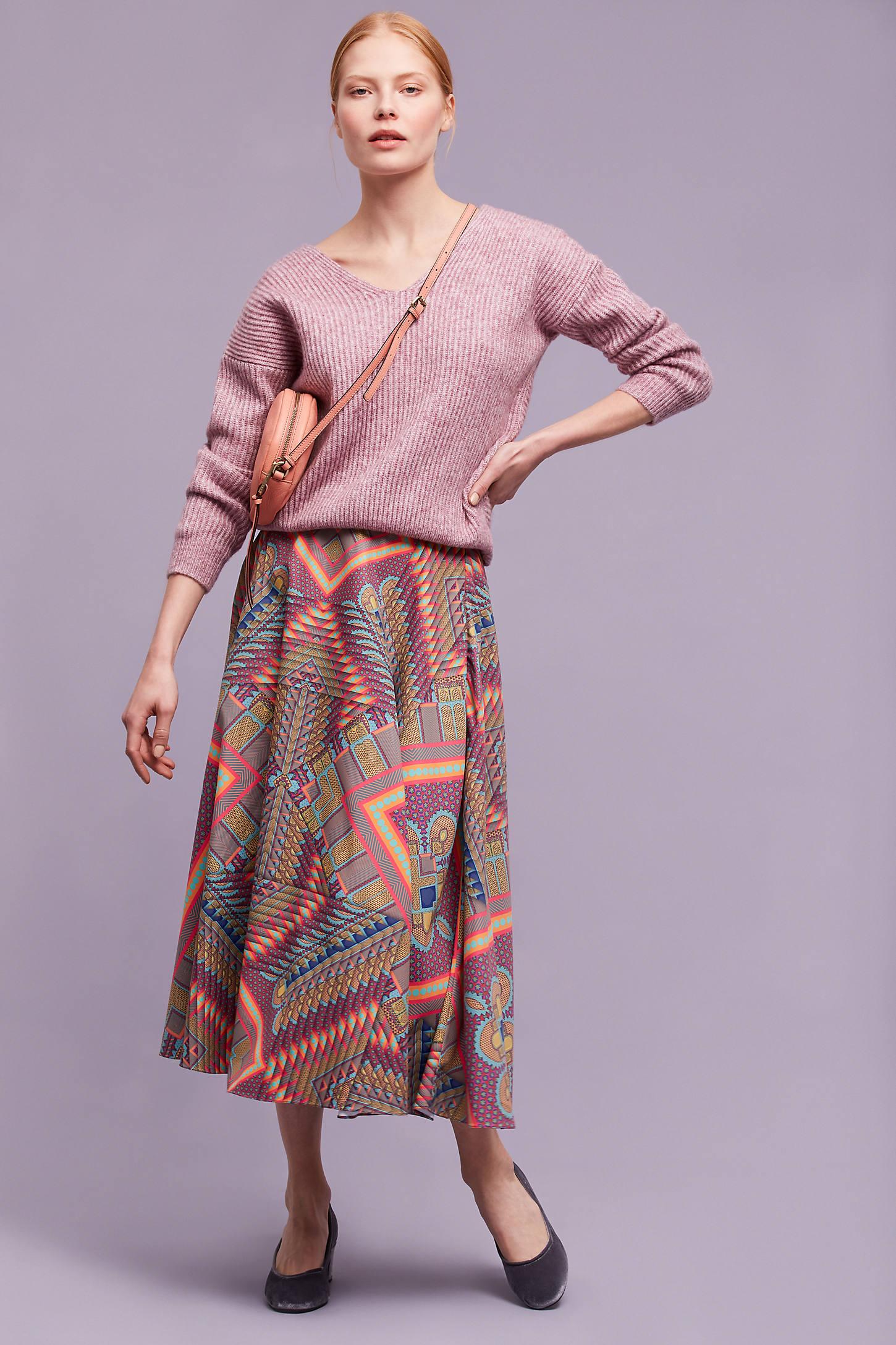 Arielle Printed Midi Skirt, Purple