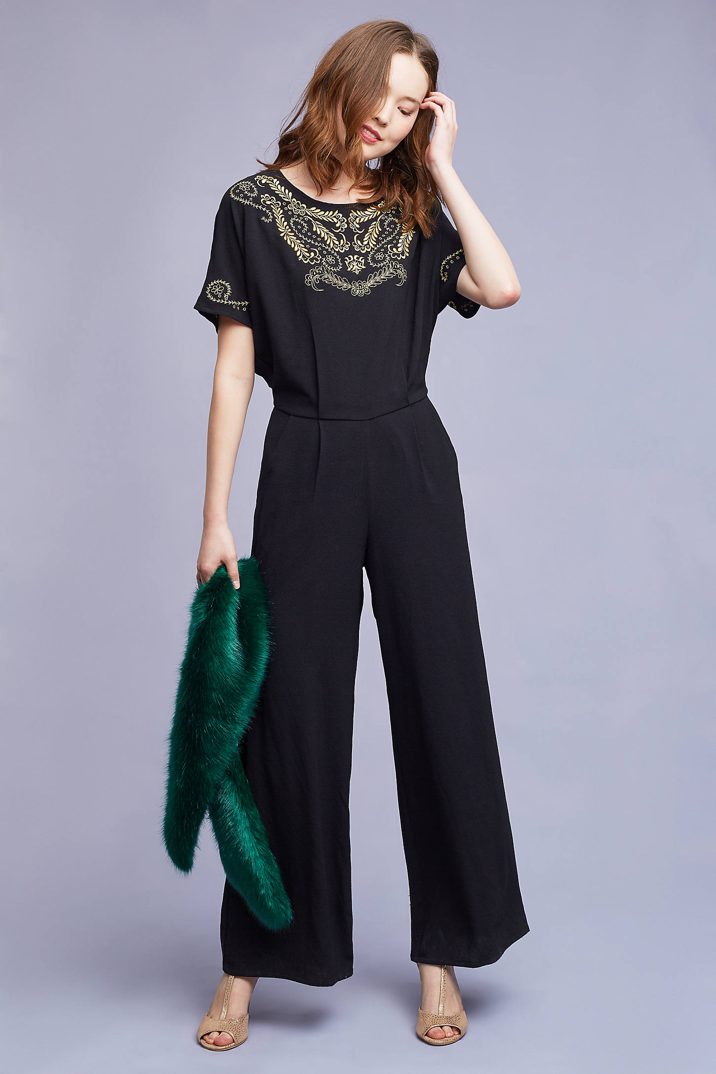 Grace Embroidered Jumpsuit, Black