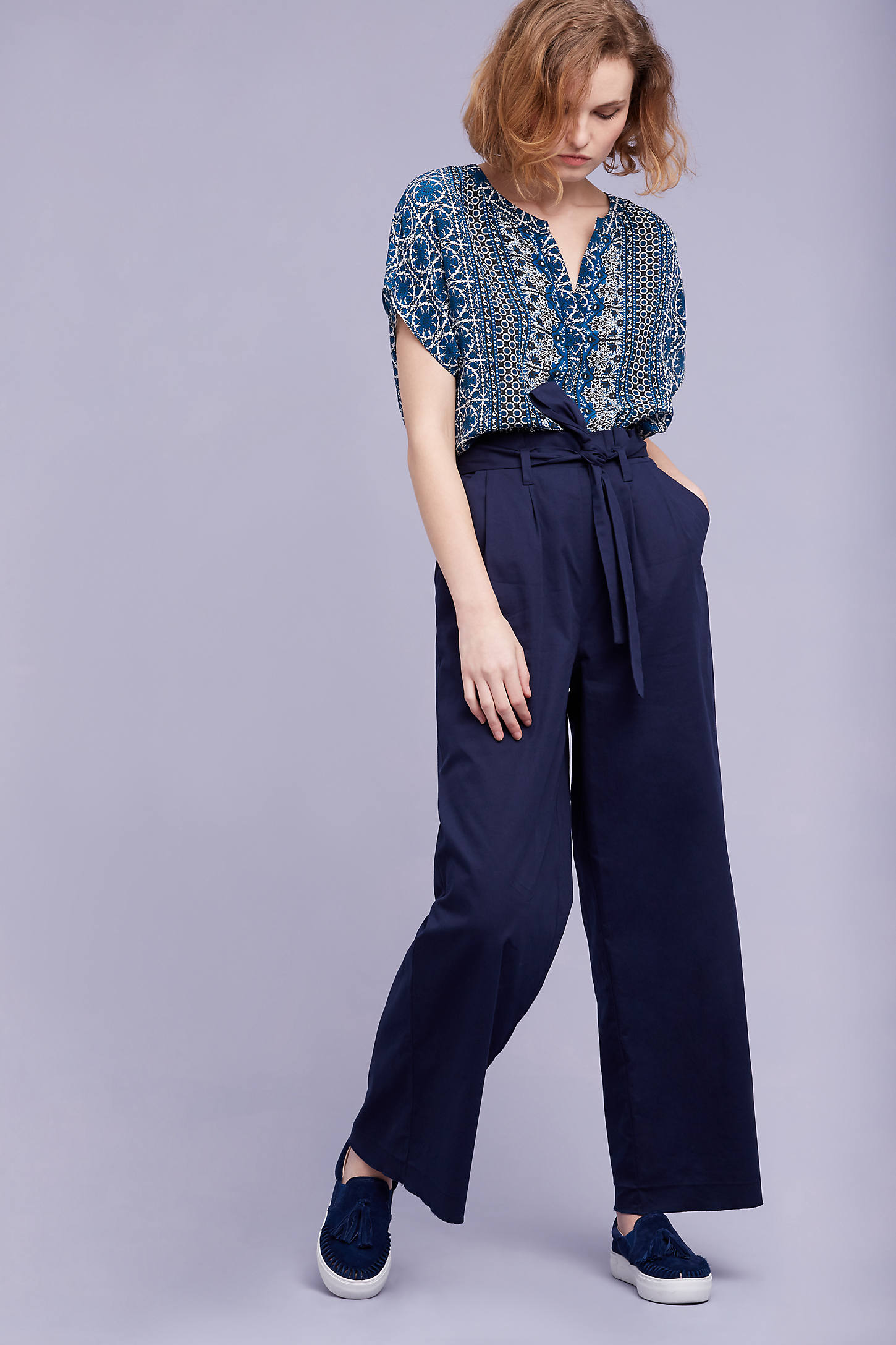 Sydney Wide-Leg Trousers, Navy