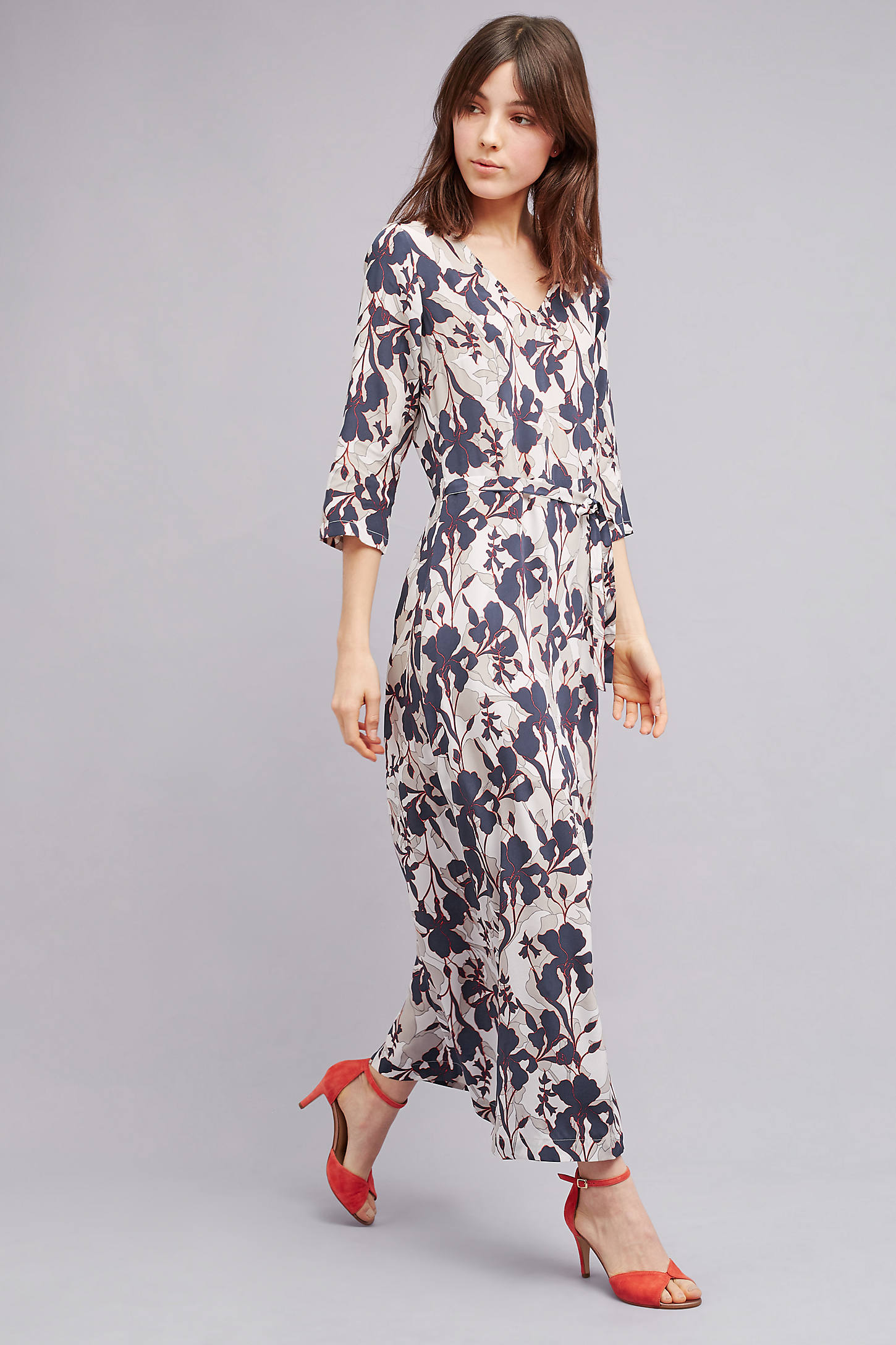 Rosabella Silk Floral Dress, Navy