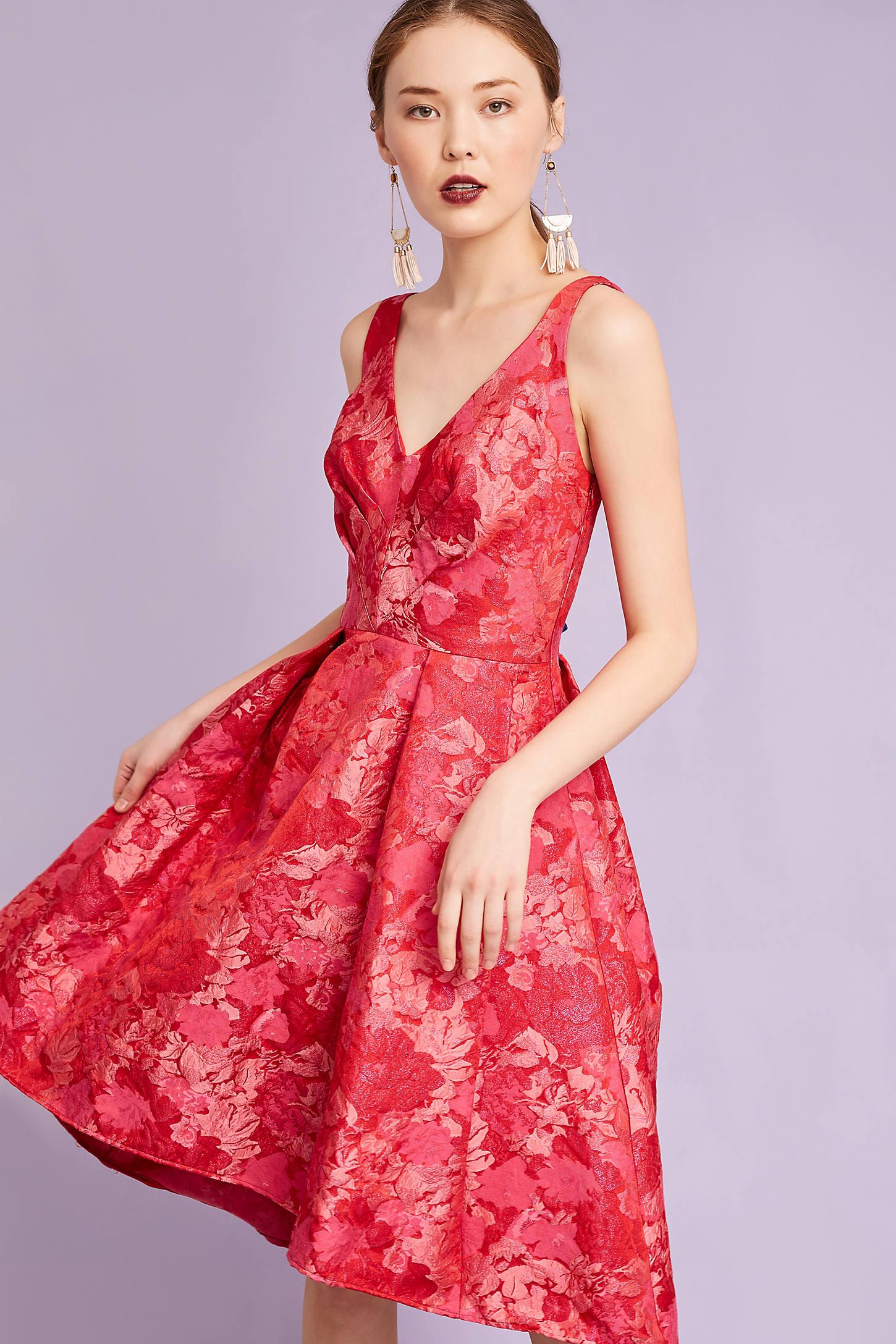Zander Brocade Dress, Red