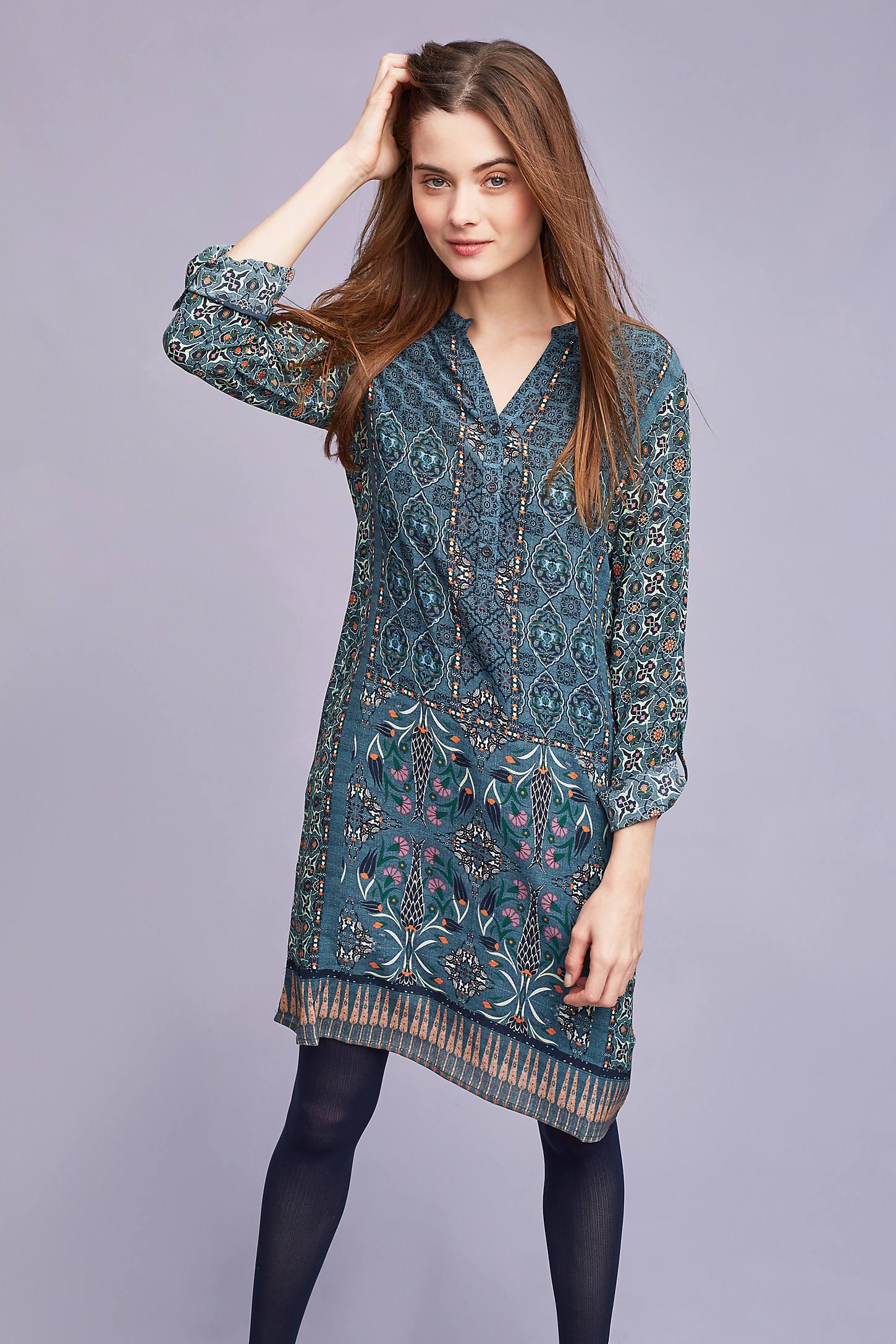 Aveline Silk Shirt Dress, Blue