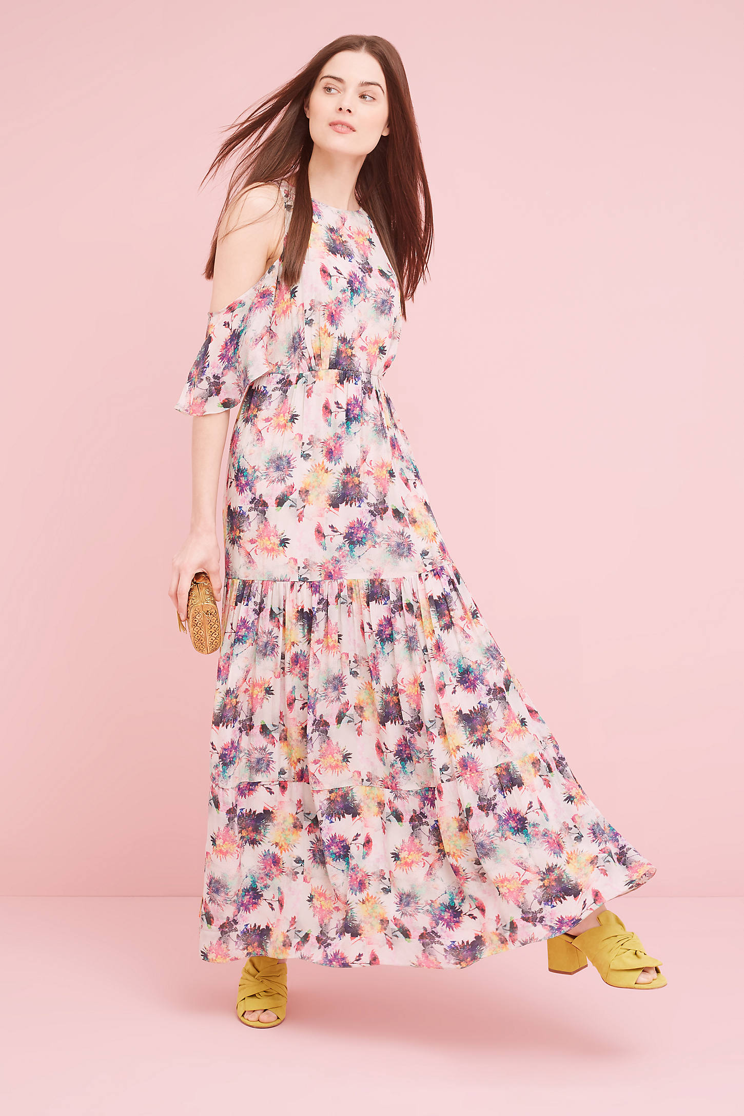 Kalia Floral Cold-Shoulder Dress, Pink
