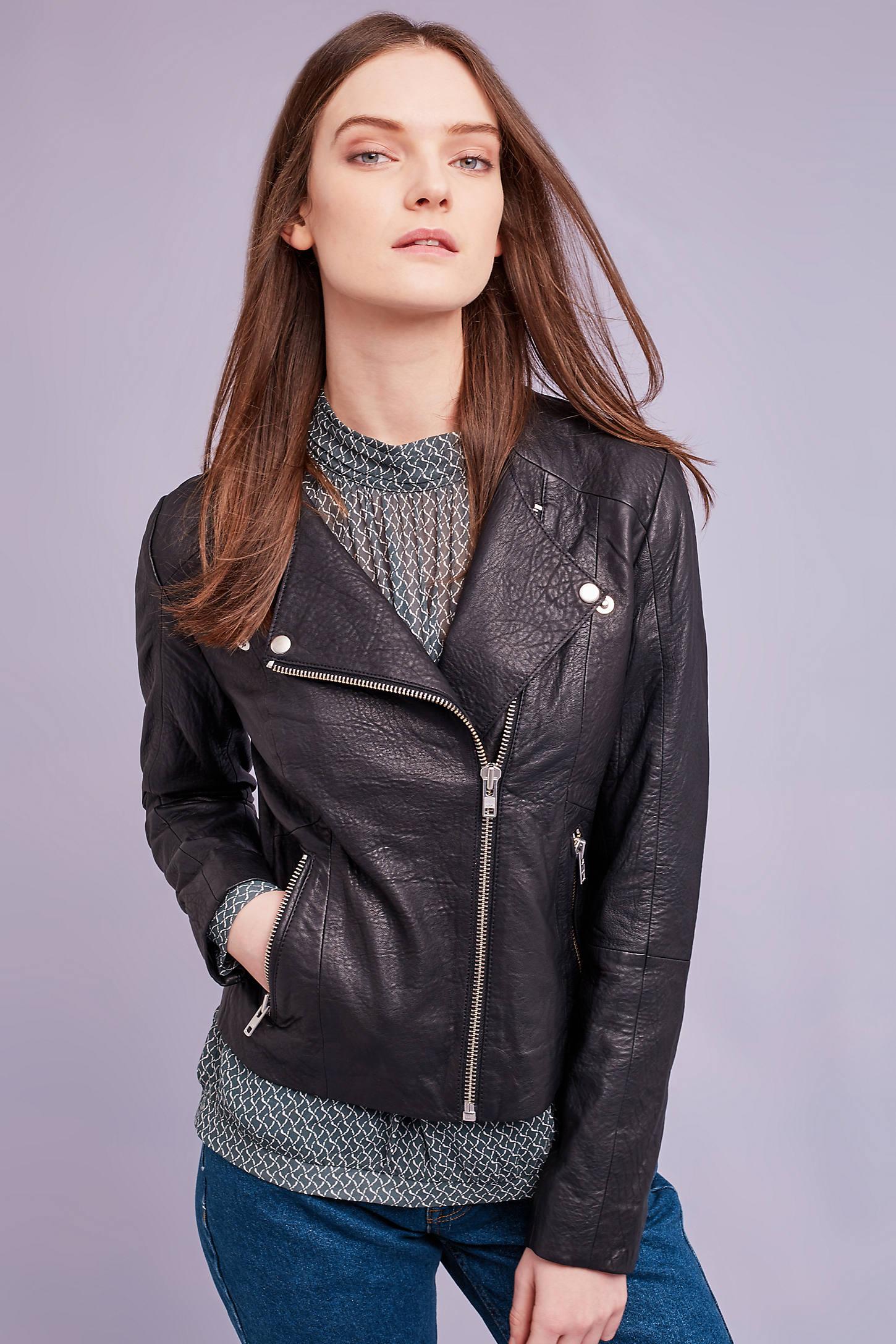 Westlake Leather Biker Jacket, Black