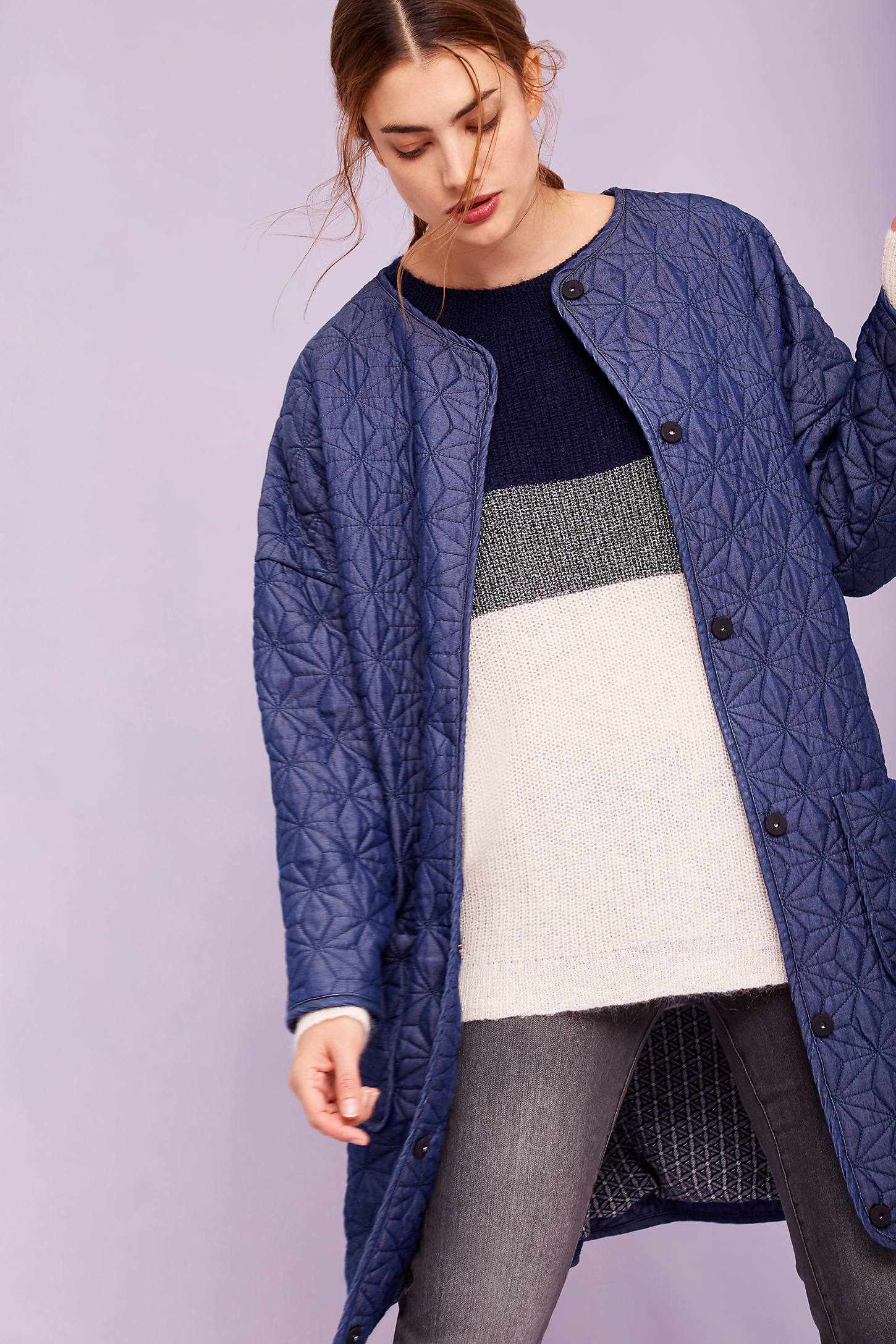 Kendall Quilted Coat, Purple