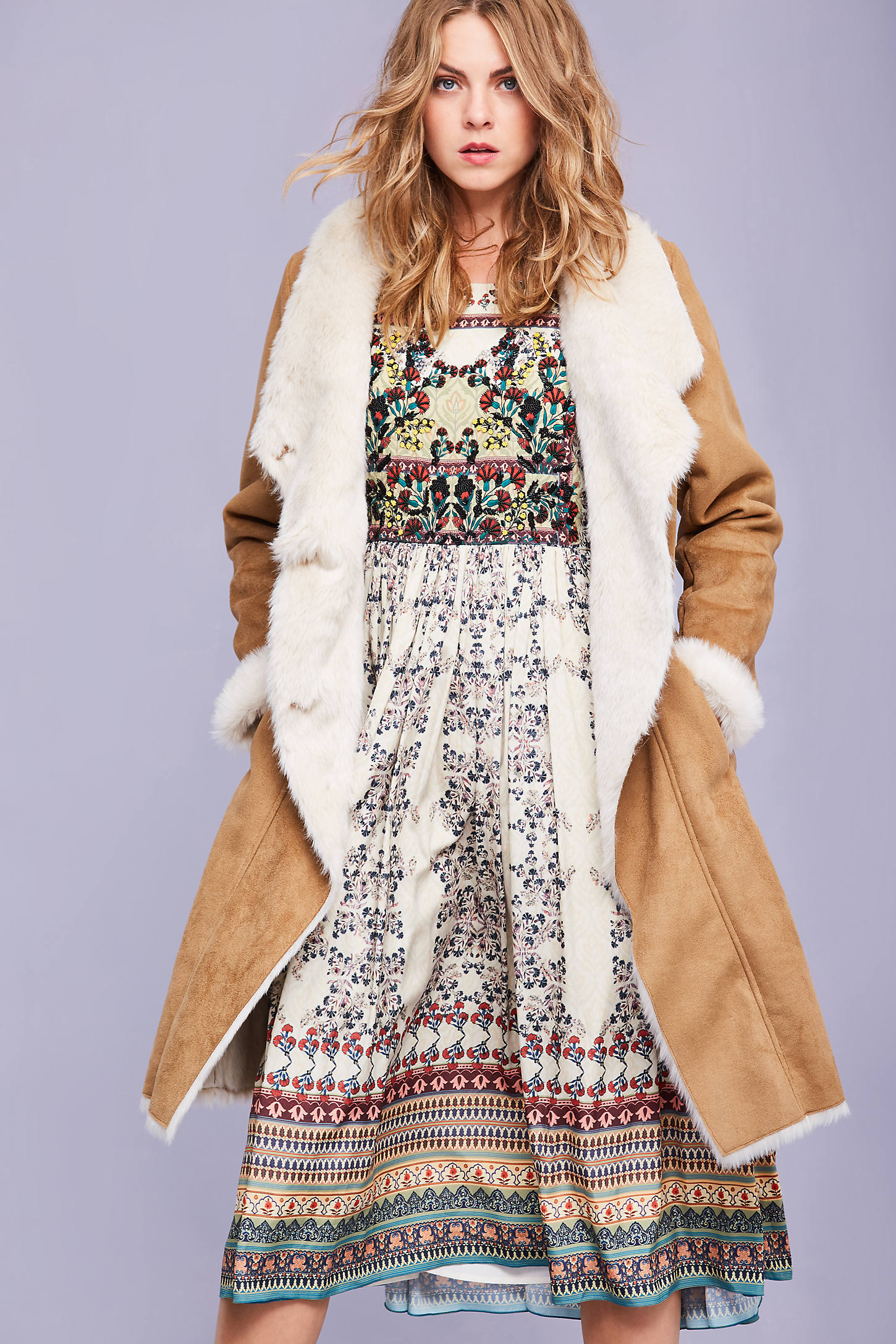 Telly Faux Shearling Coat, Brown