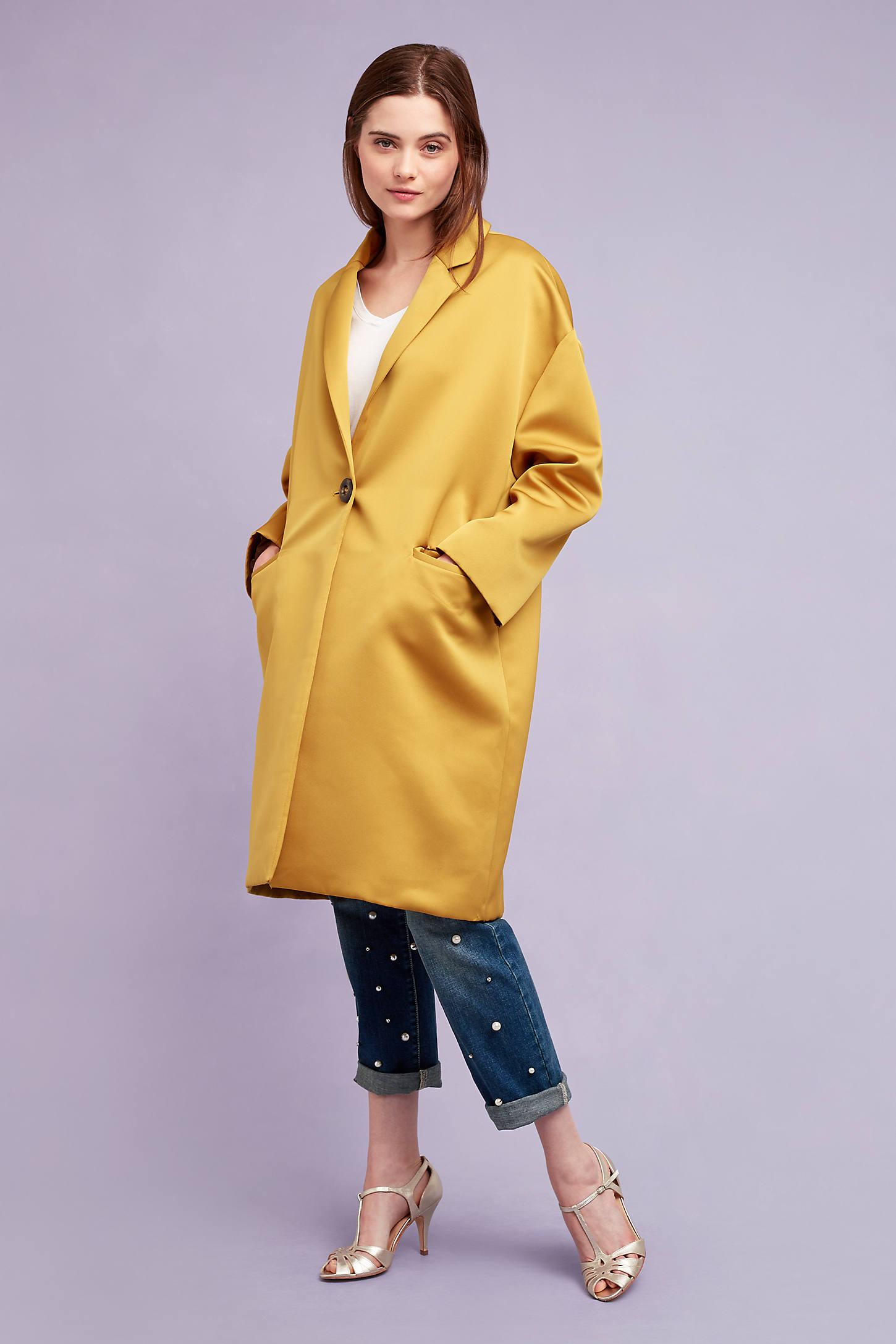 Raquel Longline Car Coat, Yellow