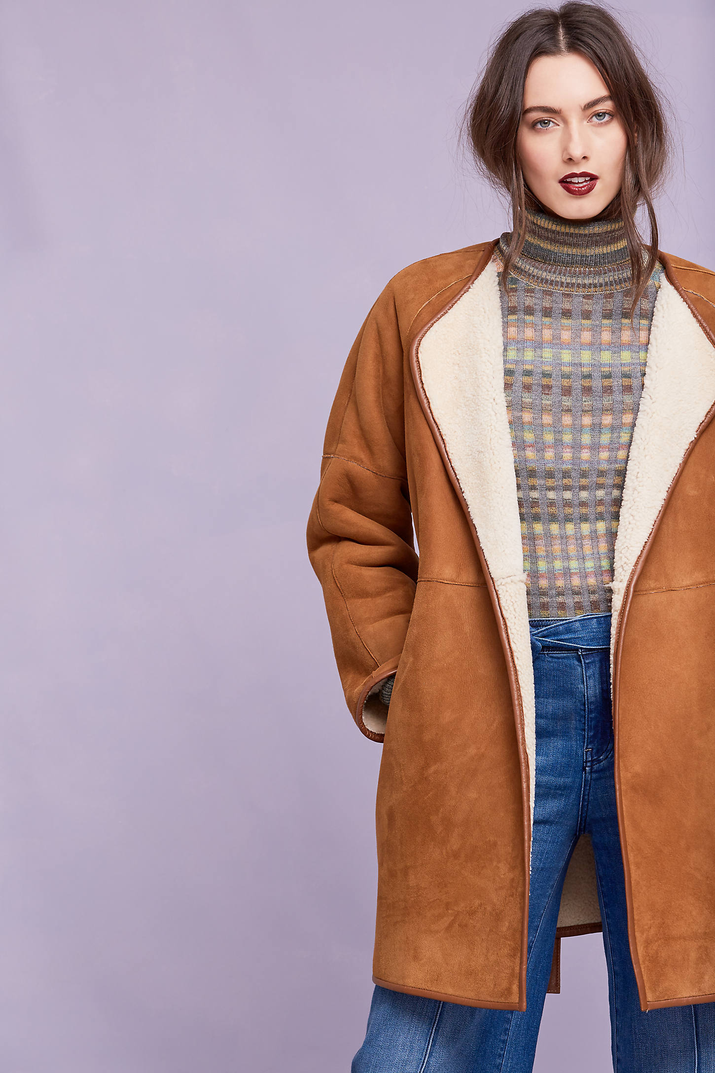 Keira Sheepskin Wrap Coat, Brown