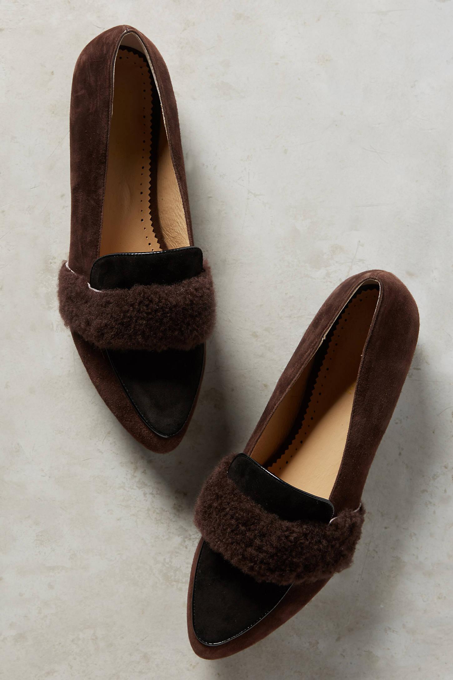 Ellison Shearling-Belted Loafers