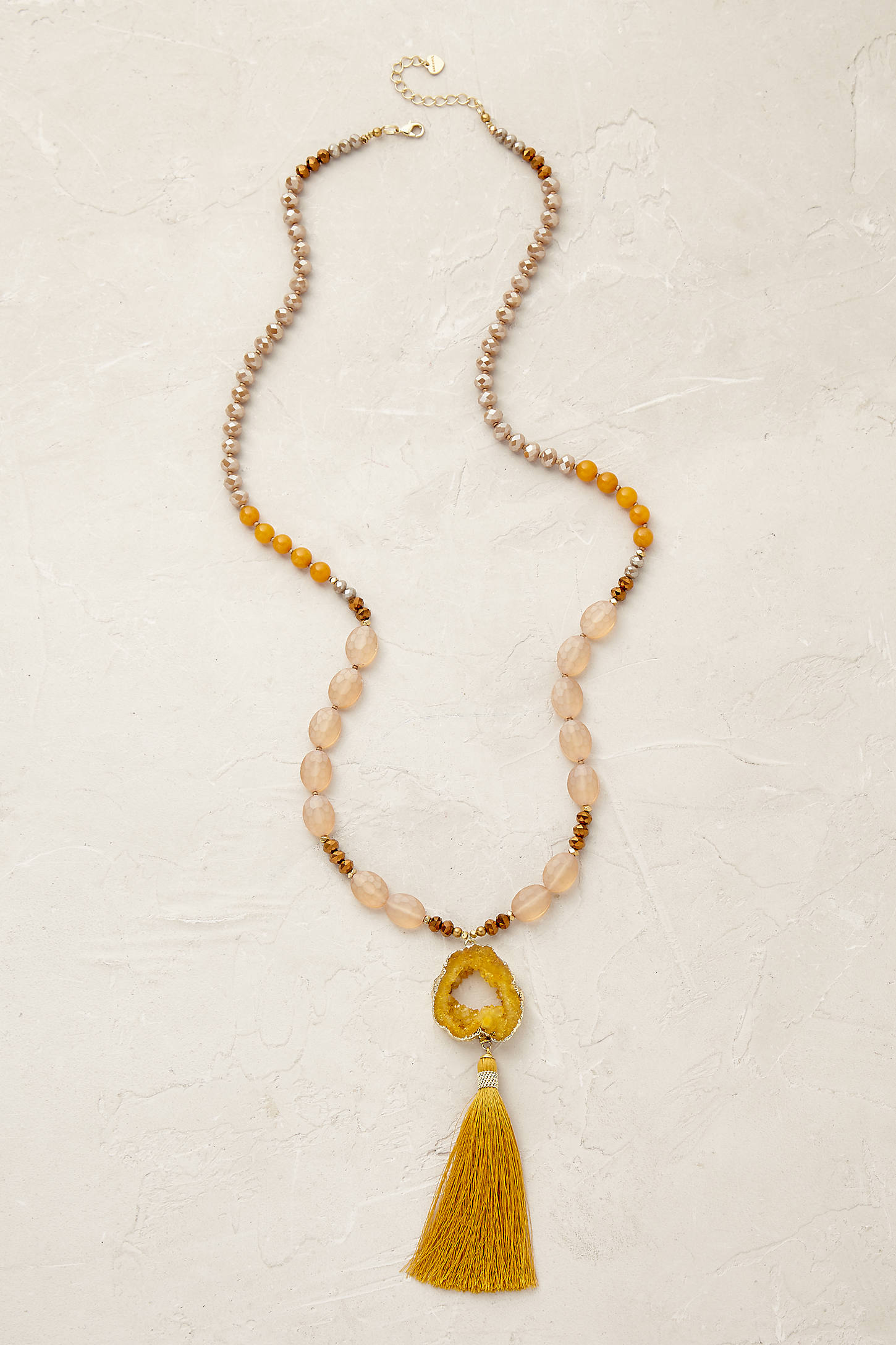 Tasselled Agate Lariat Necklace