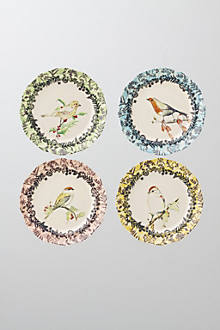 Birdwatcher's Dessert Plates :  anthropologie dining colorful dinnerware vintage dining dining