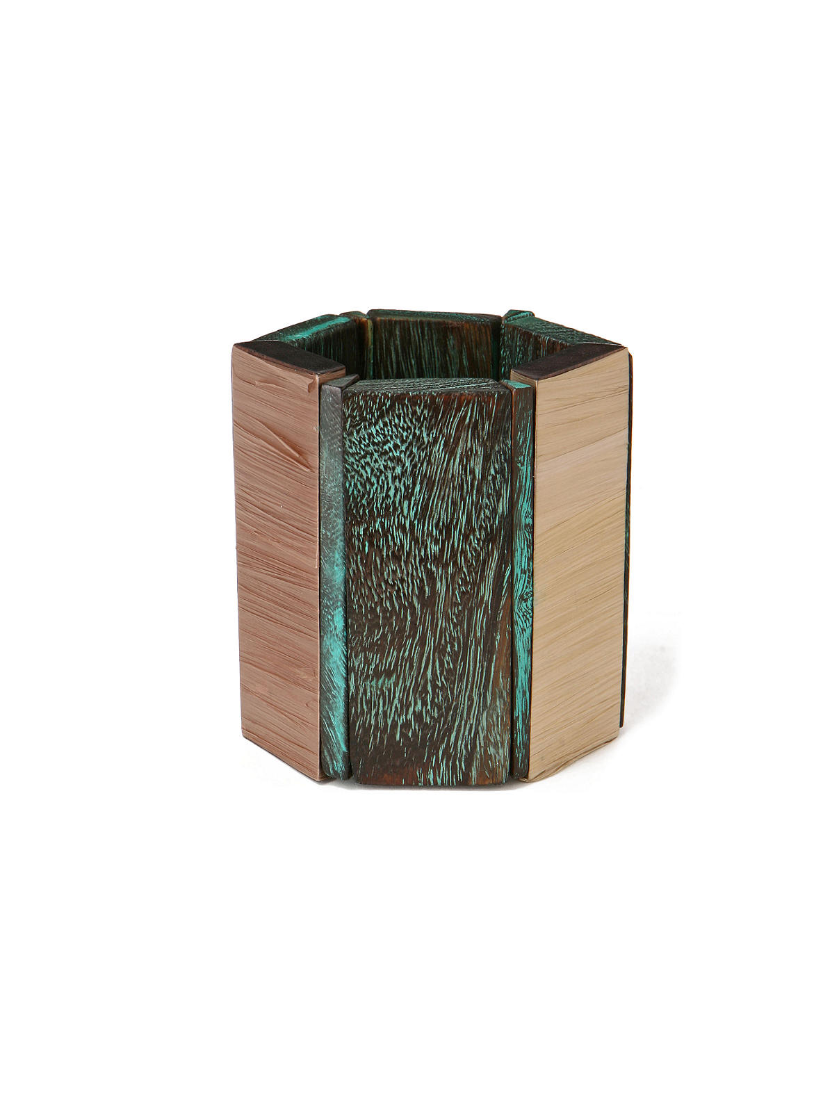 Siumu Bangle - Anthropologie.com :  wood rafia green elastic