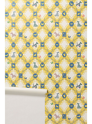 Barking Mad Wallpaper - Anthropologie.com :  animals anthropologie wall yellow