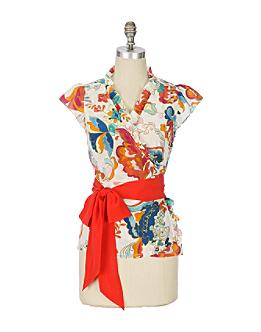 Csardas Wrap Blouse - Anthropologie.com :  short sleeves odille retro wrap