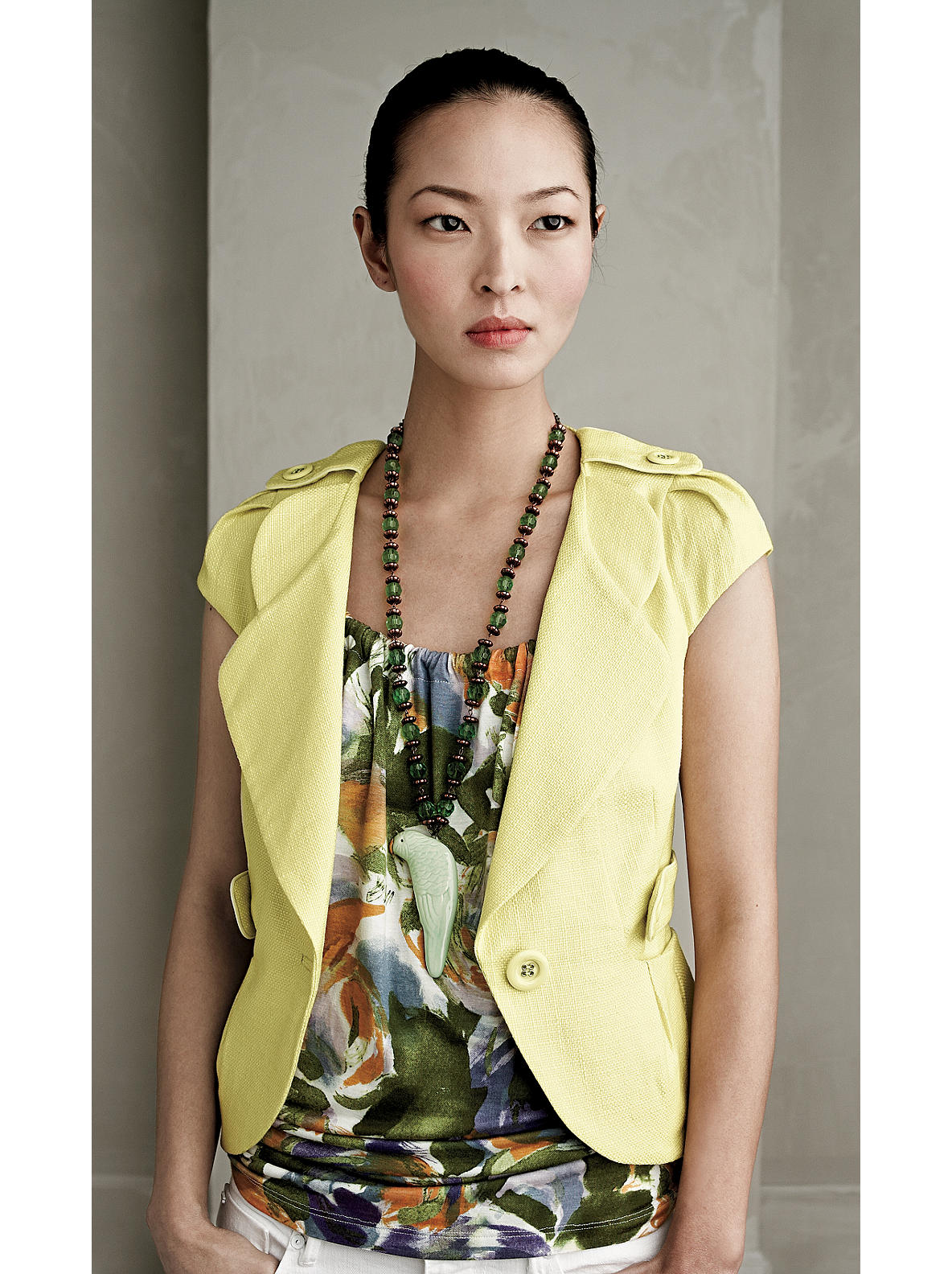 Vizcaya Jacket - Anthropologie.com :  curved hem wide lapel yellow elevenses
