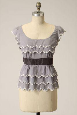 Wavelet Blouse-Anthropologie.com :  blouse scoopneck grey scalloped