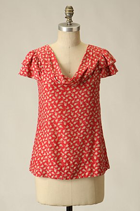Strewn Leaves Blouse - Anthropologie.com :  blouse silk ruffles red and white