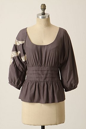 Preened Plumage Blouse - Anthropologie.com :  blouse embroidered pintucked wings