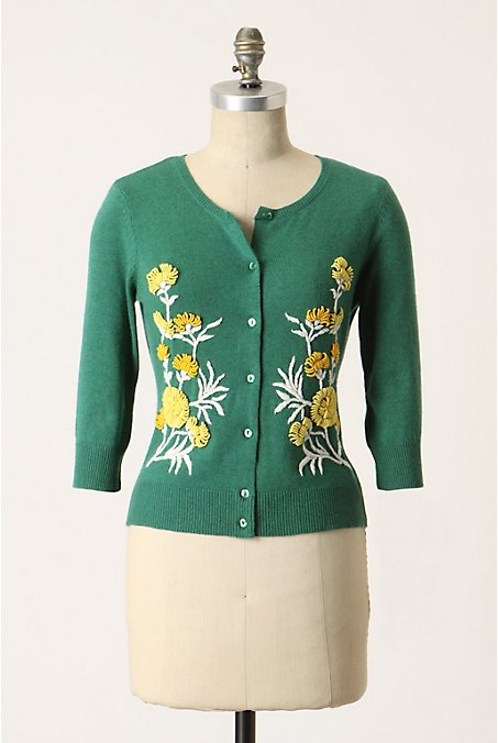 From-The-Green Cardi - Anthropologie.com :  wool crewneck cardigan green