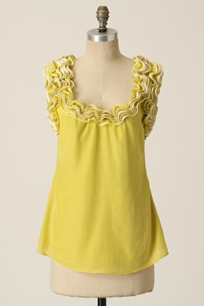 Curled Ribbon Tank - Anthropologie.com :  ruffles tank top yellow silky