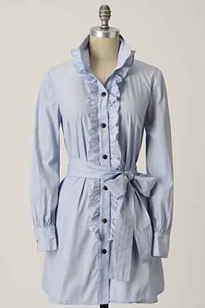 Lean Lines Tunic-Anthropologie.com :  ruffles tunic sash pinstripe