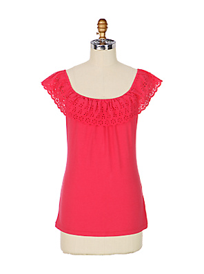 Haloed Eyelet Top - Anthropologie.com :  tank pima open neck cap sleeves