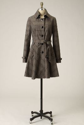 Inverness Trench - Anthropologie.com :  jacket plaid grey belted