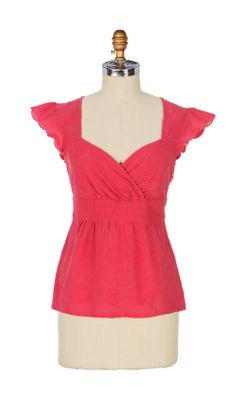 Delight Blouse - Anthropologie.com :  blouse top red cotton