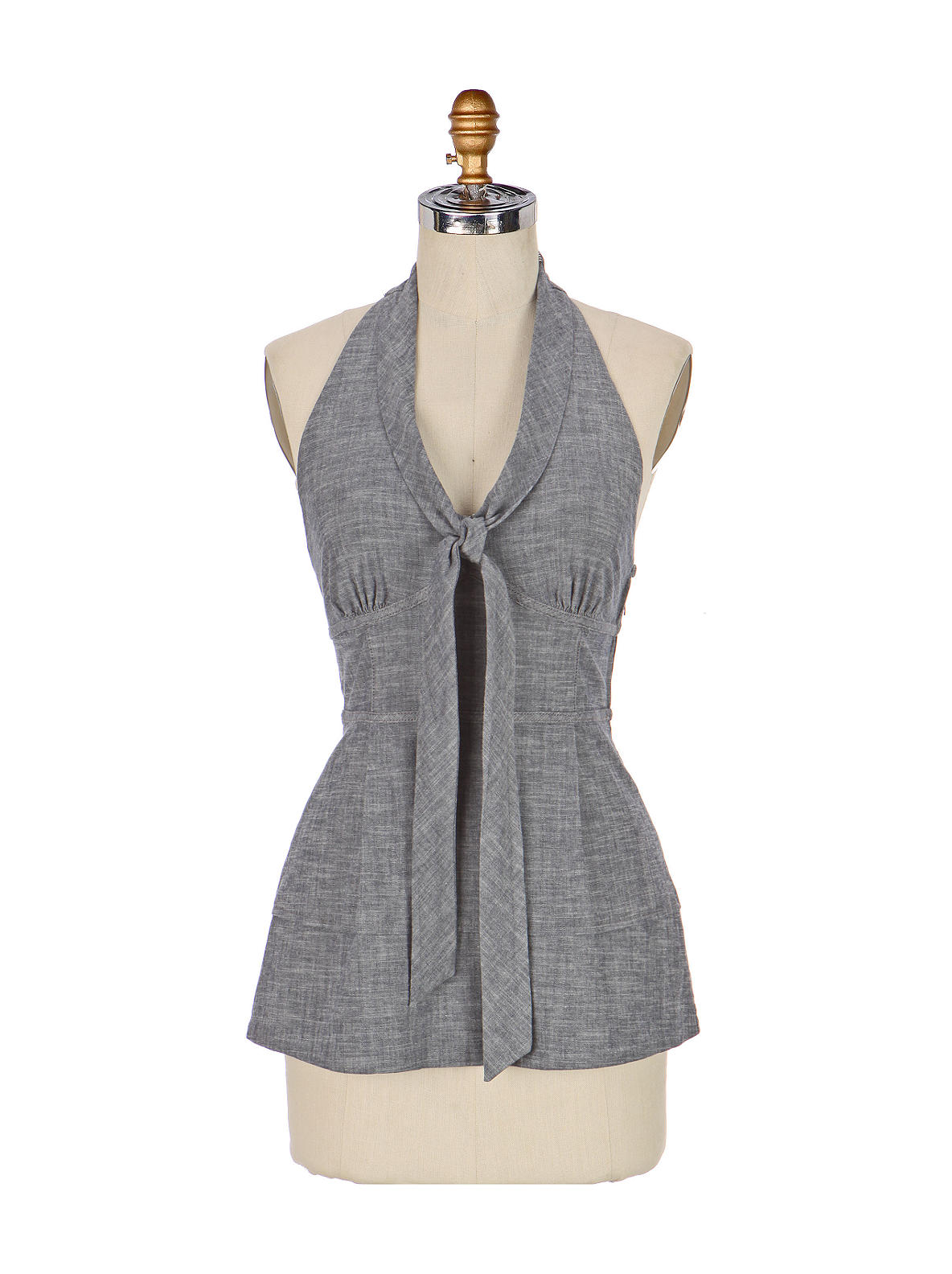 Tailored Halter - Anthropologie.com :  bow peplum denim anthropologie