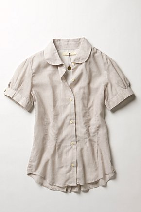 Skinny Striped Blouse - Anthropologie.com :  striped blouse neutral cotton