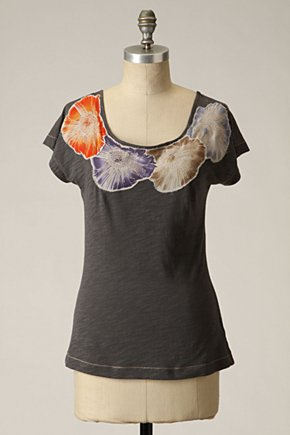 Glinting Hollyhock Tee - Anthropologie :  applique charcoal anthropologie