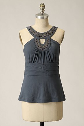 Mythical Phoenix Tank - Anthropologie.com :  yoke cotton beading keyhole detail
