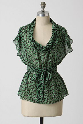 Emerald Cascade Blouse - Anthropologie.com :  blouse printed silk tie waist