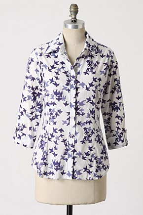 Skybound Button-Up - Anthropologie.com :  button front navy shirt voile