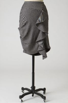 Fluttering Pencil Skirt - Anthropologie.com :  wool ruffle grey anthropologie