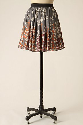 Spindly Stems Skirt - Anthropologie.com :  silk cute purple leaf print