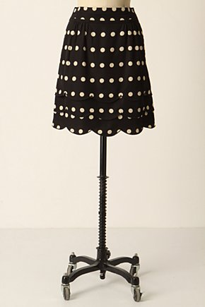 Scalloped Dots Skirt :  polka dot black and white tiered scalloped