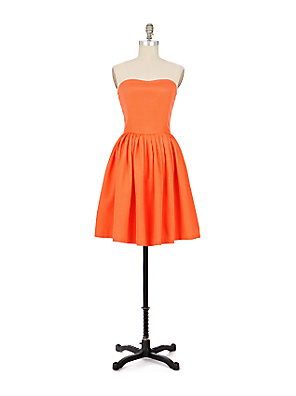Final Note Dress :  strapless taffeta orange dress