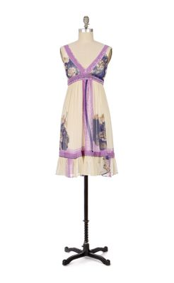 Floating Lotus Dress - Anthropologie.com :  floral cream violet plunging neckline