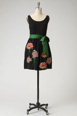 Cranesbill Dress - Anthropologie.com :  floral sateen green white