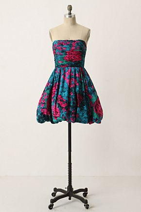 Bubbled Meadowlands Dress - Anthropologie.com :  blue green red rose print