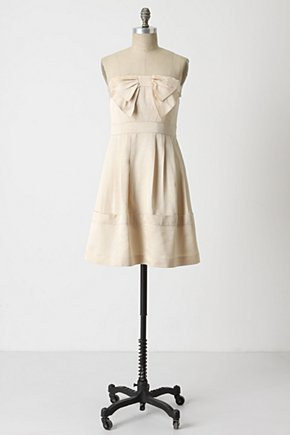 Blushing Faille Dress - Anthropologie.com :  frock bow nude silky