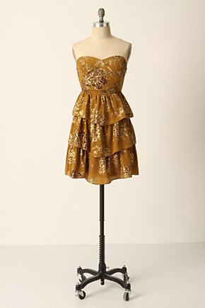 Golden Light Dress - Anthropologie.com :  floral metallic gold tiered