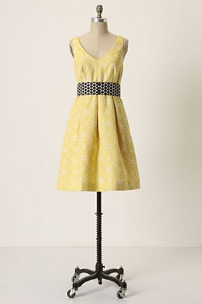 Longing-For-Yellow Dress - Anthropologie.com :  frock side pockets v neckline brocade