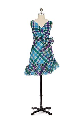 Wilcox Dress - Anthropologie.com :  blue asymmetrical green sash