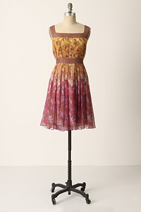 Cascading Foliage Dress - Anthropologie.com :  floral yellow squareneck georgette