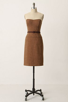Verite Dress - Anthropologie.com :  strapless belted brown tweed
